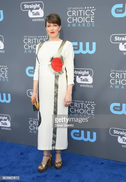Carrie Coon attends The 23rd Annual Critics' Choice Awards at Barker Hangar on January 11 2018 in Santa Monica California