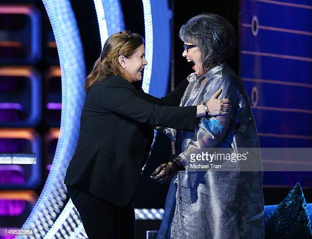 Carrie Fisher and Roseanne Barr speak onstage at the Comedy Central Roast of Roseanne Barr held at Hollywood Palladium on August 4, 2012 in...