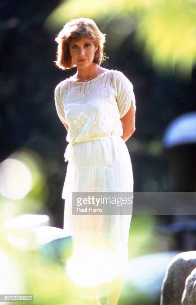 Carrie Fisher at home in Bel Air she stands in the garden May 26 1987 Bel Air California