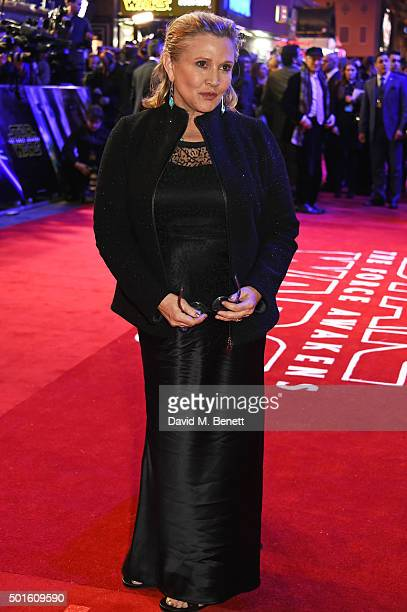Carrie Fisher attends the European Premiere of 'Star Wars The Force Awakens' in Leicester Square on December 16 2015 in London England