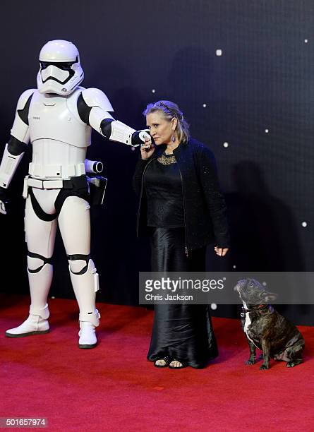 Carrie Fisher attends the European Premiere of Star Wars The Force Awakens at Leicester Square on December 16 2015 in London England