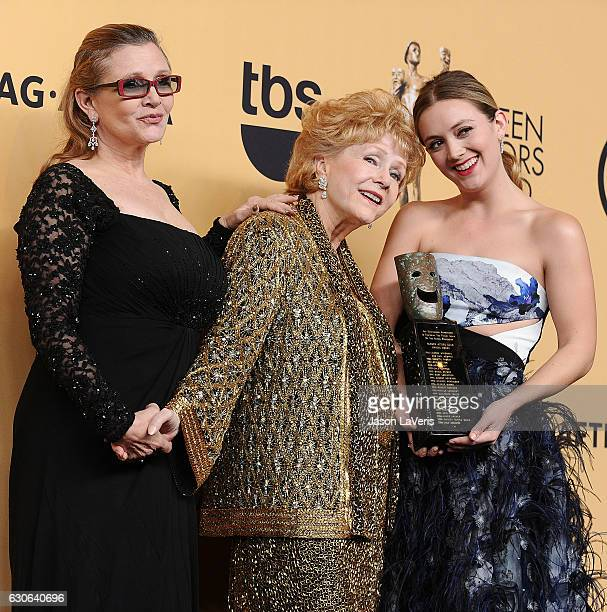 Carrie Fisher Debbie Reynolds and Billie Catherine Lourd pose in the press room at the 21st annual Screen Actors Guild Awards at The Shrine...