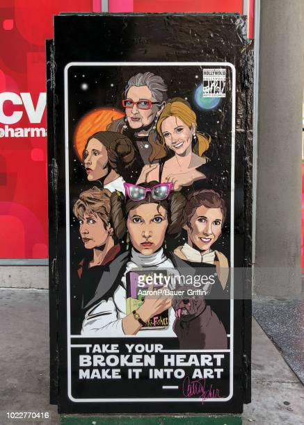 Carrie Fisher is depicted in artwork on Hollywood Blvd placed by the Hollywood Arts Council Mark Hamill and William Shatner who both have stars on...