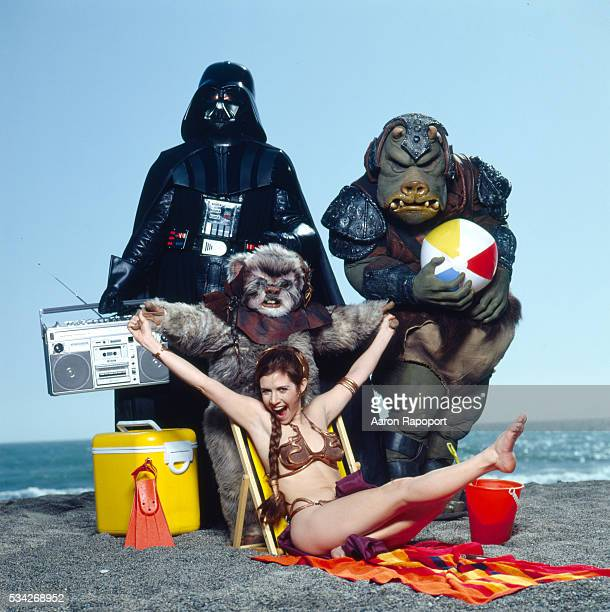 Carrie Fisher on Stinson Beach in Northern California with the cast of Star Wars