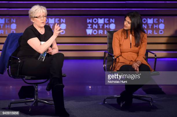 Carrie Gracie and Saru Jayaraman speak on stage at the 2018 Women In The World Summit at Lincoln Center on April 13 2018 in New York City