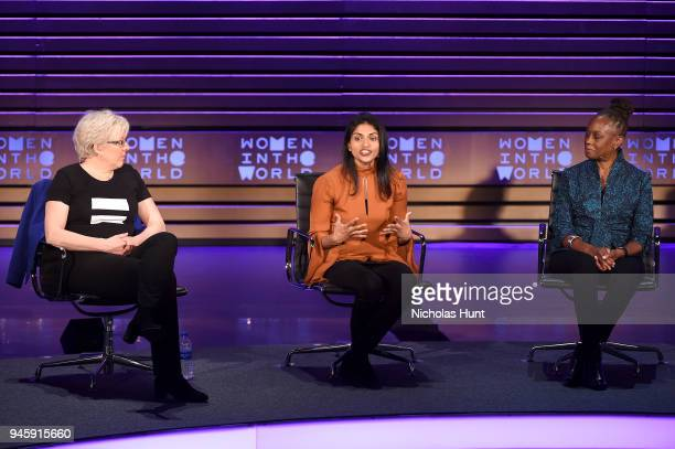 Carrie Gracie Saru Jayaraman and Chirlane McCray speak on stage at the 2018 Women In The World Summit at Lincoln Center on April 13 2018 in New York...
