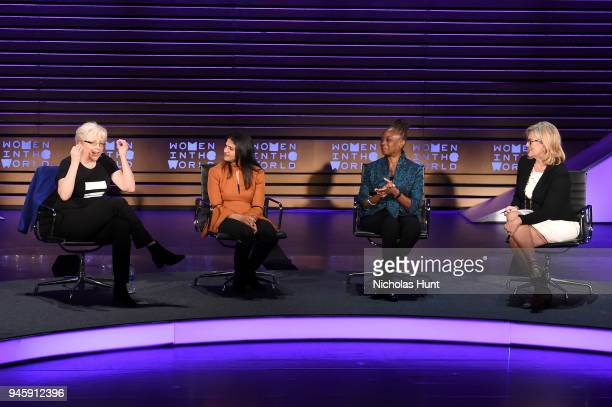 Carrie Gracie Saru Jayaraman Chirlane McCray and Cynthia McFadden speak on stage at the 2018 Women In The World Summit at Lincoln Center on April 13...