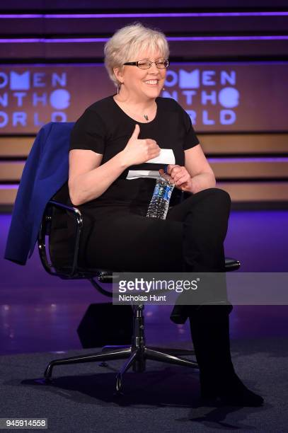 Carrie Gracie speaks on stage at the 2018 Women In The World Summit at Lincoln Center on April 13 2018 in New York City
