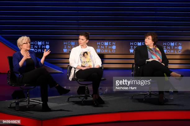 Carrie Gracie Tamara Chergoleishvili and Yevgenia Albats speak on stage at the 2018 Women In The World Summit at Lincoln Center on April 13 2018 in...