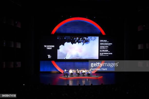 Carrie Gracie Tamara Chergoleishvili Yevgenia Albats Ece Temelkuran and Hillary Rodham Clinton speak on stage at the 2018 Women In The World Summit...
