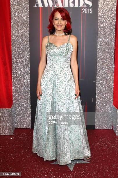Carrie Grant arrives on the red carpet during The British Soap Awards 2019 at The Lowry Media City Salford in Manchester