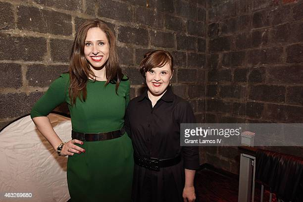 Carrie Hammer and actress Jamie Brewer backstage at Role Models Not Runway Models show during MercedesBenz Fashion Week Fall 2015 on February 12 2015...