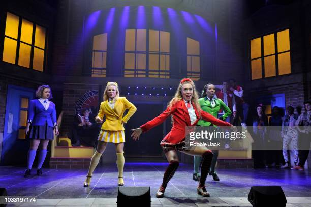 Carrie Hope Fletcher as Veronica Sawyer Sophie Isaacs as Heather McNamara Jodie Steele as Heather Chandler and T'Shan Williams as Heather Duke in the...