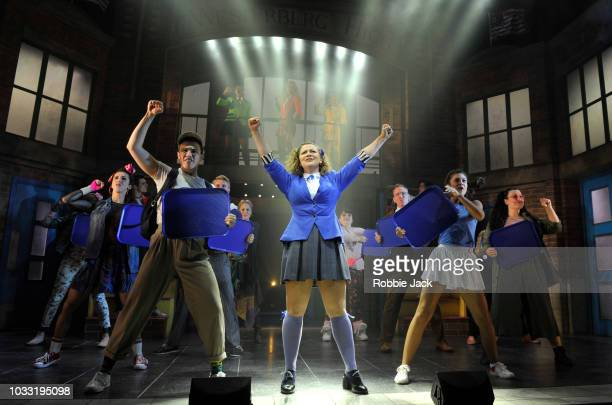 Carrie Hope Fletcher as Veronica Sawyer with artists of the company in the stage production Heathers The Musical directed by Andy Fickman at Theatre...