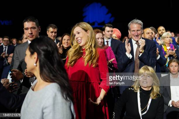 Carrie Johnson arrives for Boris Johnson's leader's keynote speech during the Conservative Party conference at Manchester Central Convention Complex...
