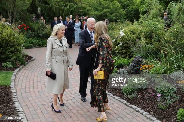Carrie Johnson greets United States President Joe Biden and First Lady Jill Biden as her husband British Prime Minister Boris Johnson hosts a drinks...