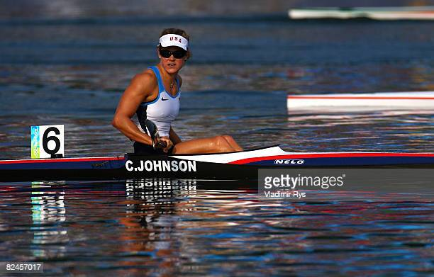 Carrie Johnson of the United States competes in her heat of the Flatwater Women's K1 500m event at the Shunyi Olympic RowingCanoeing Park on Day 11...