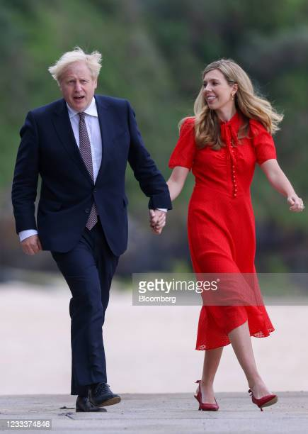 Carrie Johnson, wife of U.K. Prime minister Boris Johnson, right, and Boris Johnson, U.K. Prime minster, left, during their bilateral meeting with...