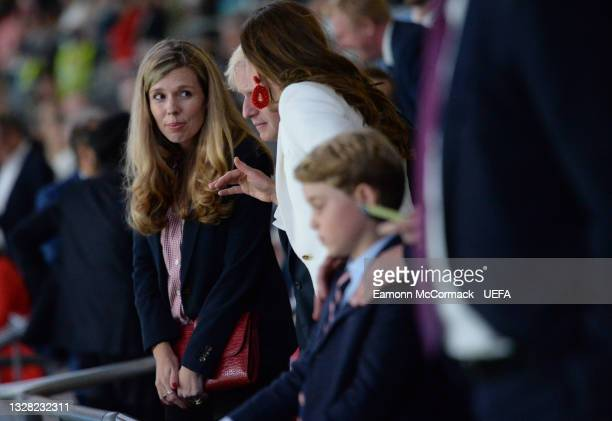 Carrie Johnson, wife of United Kingdom Prime Minister Boris Johnson, looks on during the UEFA Euro 2020 Championship Final between Italy and England...
