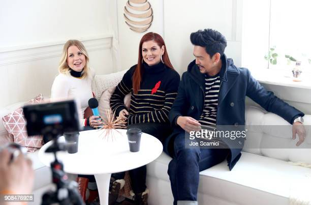 Carrie Keagan interviews Debra Messing and John Cho at the DIRECTV Lodge presented by ATT during Sundance Film Festival 2018 on January 21 2018 in...