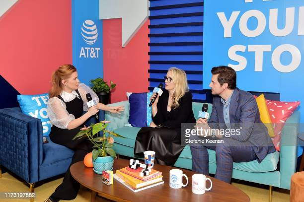 Carrie Keagan Julie Delpy and Richard Armitage stop by ATT ON LOCATION during Toronto International Film Festival 2019 at Hotel Le Germain on...