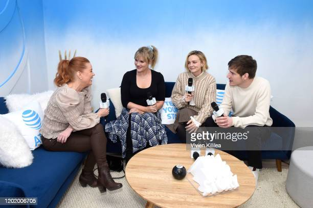 Carrie Keagan speaks with Emerald Fennell Carey Mulligan and Bo Burnham of Promising Young Women at WarnerMedia Lodge Elevating Storytelling with ATT...