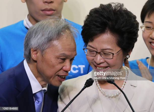 Carrie Lam Cheng Yuetngor accompanied by her husband Lam Siupor to meet media after she won the Chief Executive election in Hong Kong Convention and...