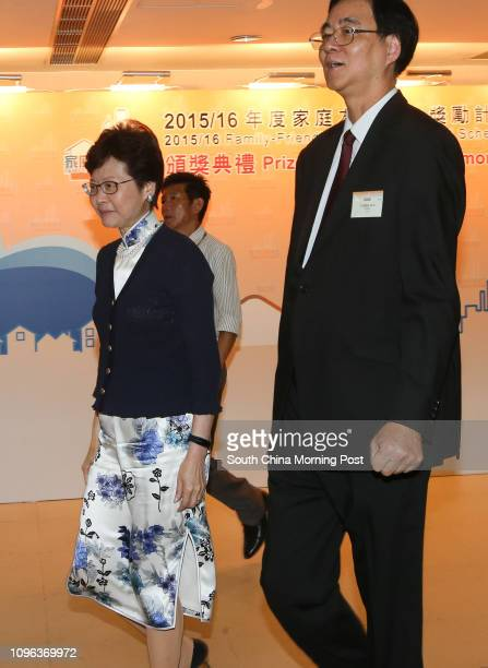 Carrie Lam Cheng Yuetngor and the Chairman of the Family Council Professor Daniel Shek attend presentation ceremony of 2015/16 FamilyFriendly...