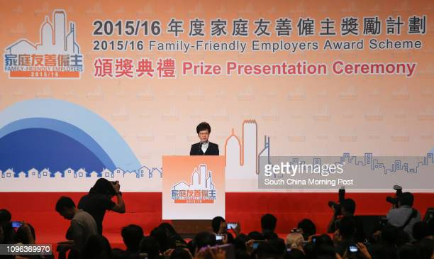 Carrie Lam Cheng Yuetngor attends presentation ceremony of 2015/16 FamilyFriendly Employers Award Scheme in Kowloon Bay 25OCT16 SCMP/David Wong