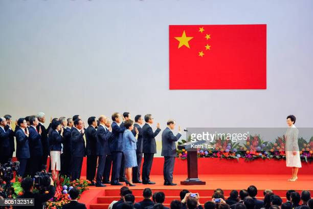 Carrie Lam Cheng Yuet-Ngor, Hong Kong's new Chief Executive and her new cabinet are sworn in by Chinese President Xi Jinping during an inauguration...