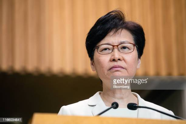 Carrie Lam, Hong Kong's chief executive, attends a news conference in Hong Kong, China, on Thursday, Sept. 5, 2019. Lamsaid her decision to scrap...