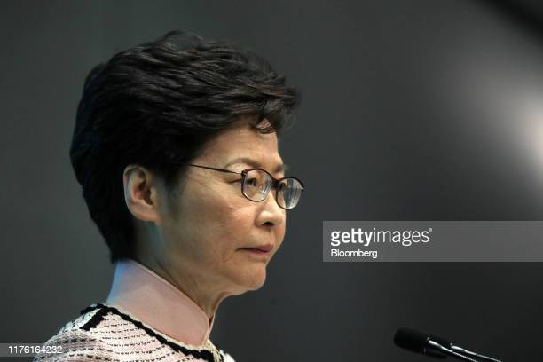 Carrie Lam, Hong Kong's chief executive, attends a news conference in Hong Kong, China, on Wednesday, Oct. 16, 2019. Lamannounced plans to help...