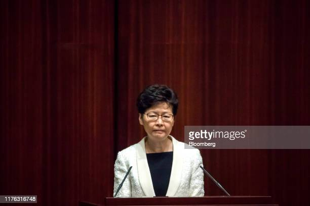 Carrie Lam, Hong Kong's chief executive, attends the Chief Executive's Question and Answer Session at the Legislative Council in Hong Kong, China, on...