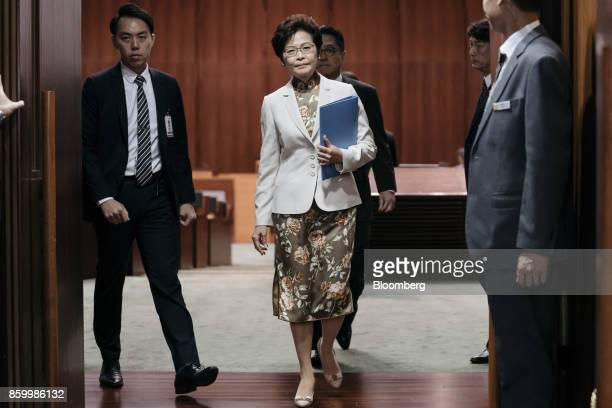 Carrie Lam Hong Kong's chief executive leaves the chamber of the Legislative Council in Hong Kong China on Wednesday Oct 11 2017 Hong Kong developer...