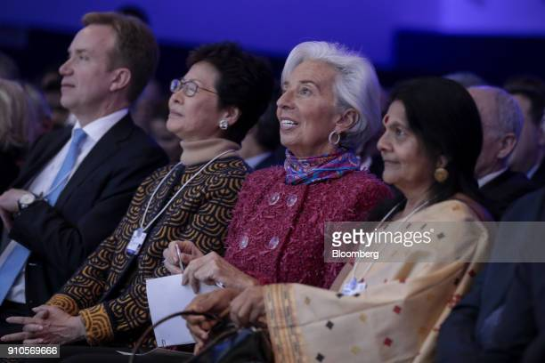 Carrie Lam Hong Kong's chief executive second left and Christine Lagarde managing director of the International Monetary Fund second right watch from...