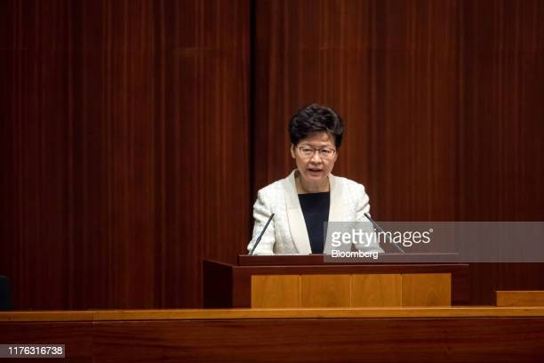 Carrie Lam, Hong Kong's chief executive, speaks during the Chief Executive's Question and Answer Session at the Legislative Council in Hong Kong,...
