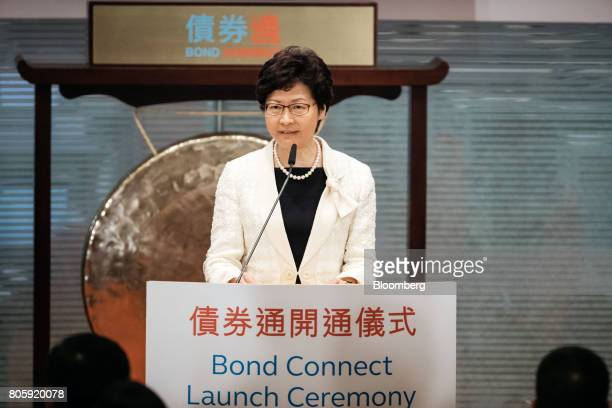 Carrie Lam Hong Kong's chief executive speaks during the launch ceremony of the ChinaHong Kong Bond Connect at the Hong Kong Stock Exchange in Hong...