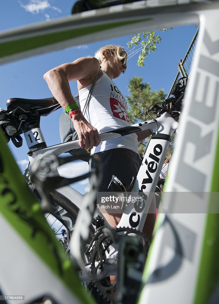 Carrie Lester of Australia racks her bike during the Challenge Penticton Triathlon previews on August 24, 2013 in Penticton, British Columbia, Canada.