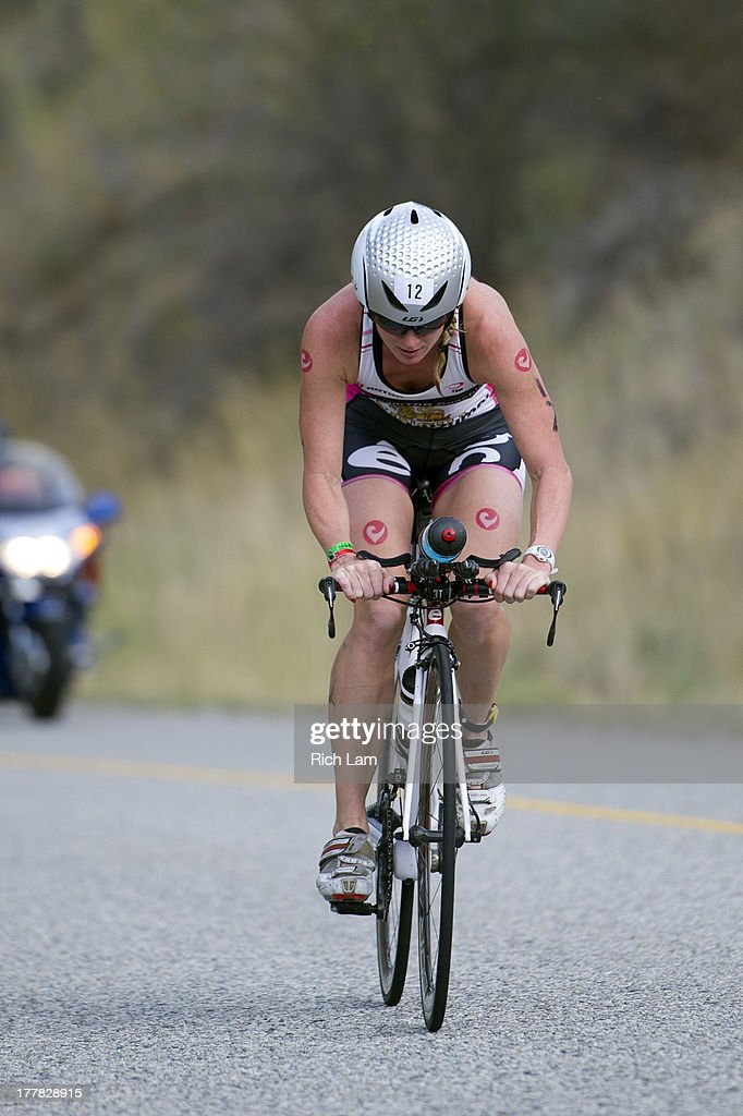 Carrie Lester on the bike course during the Challenge Penticton Triathlon on August 25, 2013 in Penticton, British Columbia, Canada.