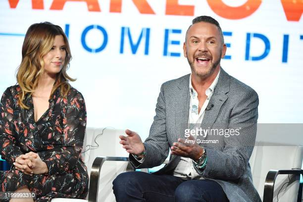 """Carrie Locklyn and Loren Ruch of """"Extreme Makeover: Home Edition"""" speak during the HGTV segment of the 2020 Winter TCA Press Tour at The Langham..."""