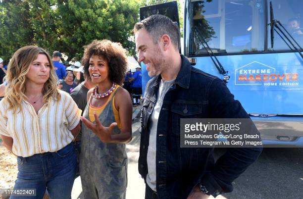 Carrie Locklyn Breegan Jane and Darren Keefe Reiher the cast of Extreme Makeover Home Edition talk to the press about surprising the Fifita familynin...