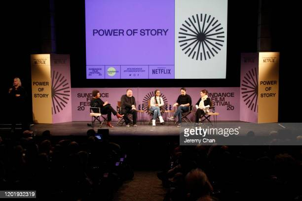 Carrie Mae Weems Ai Weiwei Kerry Washington LinManuel Miranda and Julie Taymor speak on stage at the 2020 Sundance Film Festival Power Of Story Just...