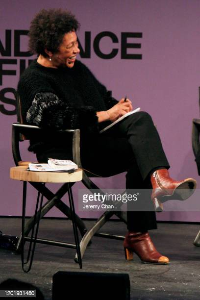 Carrie Mae Weems speaks at the 2020 Sundance Film Festival Power Of Story Just Art Panel at Egyptian Theatre on January 25 2020 in Park City Utah