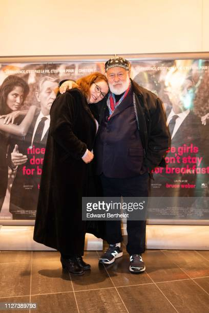 Carrie Mitchum and Bruce Weber attend the Nice Girls Don't Stay For Breakfast Photocall at Mk2 Bibliotheque on February 04 2019 in Paris France