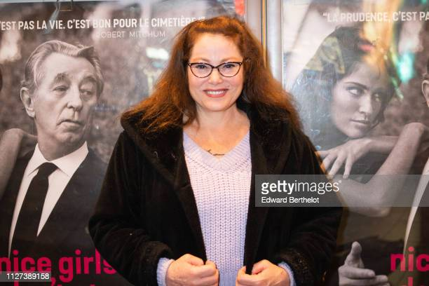 Carrie Mitchum attends the Nice Girls Don't Stay For Breakfast Photocall at Mk2 Bibliotheque on February 04 2019 in Paris France