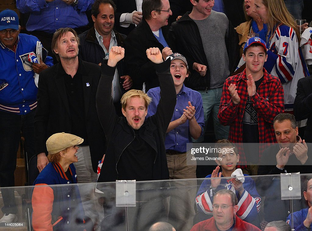Carrie Modine, Liam Neeson, Matthew Modine, guest and Daniel Neeson attend the Washington Capitals vs New York Rangers playoff game at Madison Square Garden on May 7, 2012 in New York City.