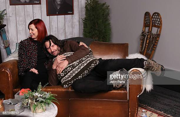 Carrie Preston and Keanu Reeves from the film 'To The Bone' attends the The Hollywood Reporter 2017 Sundance Studio At Sky Strada Day 2 2017 Park...