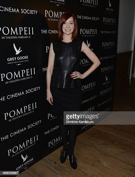 Carrie Preston attends the TriStar Pictures with The Cinema Society Grey Goose screening of Pompeii at Crosby Street Hotel on February 12 2014 in New...