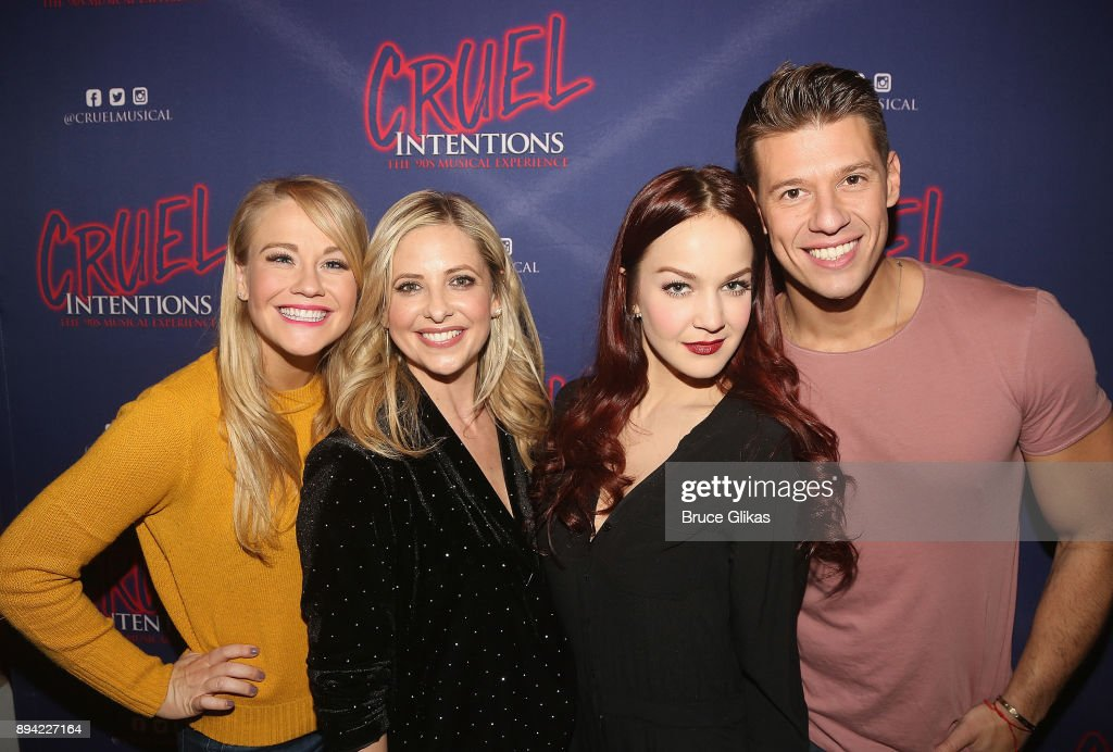 Carrie St. Louis, Sarah Michelle Gellar, Lauren Zakrin and Constantine Rousouli (Gellar played Zakrin's role of 'Kathryn Merteuil' in the film) pose backstage at the new musical based on the 1999 film 'Cruel Intentions' at Le Poisson Rouge Theatre on December 16, 2017 in New York City.