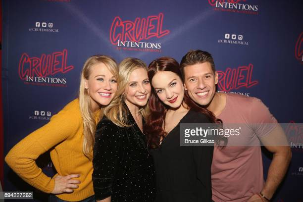 Carrie St Louis Sarah Michelle Gellar Lauren Zakrin and Constantine Rousouli pose backstage at the new musical based on the 1999 film 'Cruel...